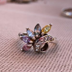 Multi gemstone and Diamondique ring size 8